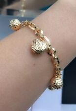 18k Solid Yellow Gold Big Heart Ball Charms Italy Bracelet,7 Inches, 11.09 grams