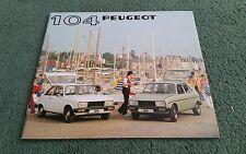 1981 PEUGEOT 104 ZL ZR ZS GL GR SR S SR PACK 3 5 DOOR UK BROCHURE