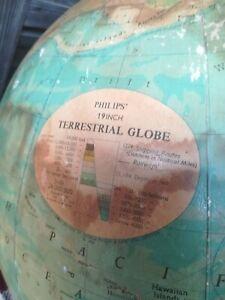 "Vintage 1970s Philips 19"" Terrestrial Globe"