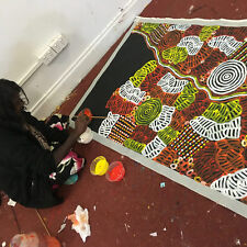 "ABORIGINAL ART PAINTING by BETTY MBITJANA ""AWELYE AND BUSH MELON"" Authentic, WIP"
