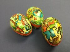 3 Vintage Western GERMANY Paper-Mache EASTER EGGS CANDY CONTAINER w/Bunnies