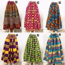 Women's Printed African Maxi Skirt WITH POCKETS One Size + HEAD WRAP