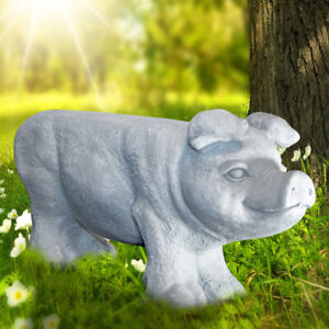 Dekorative Schweineskulptur, Schwein als Bank, Eisen, Steinlook, Grau