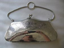 Antique Victorian Art Nouveau Engraved Floral Silver Plate Card Case Purse ITALY