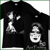 Ace Frehley Kiss Rock Band Guitarist Tribute Black T-Shirt TShirt Tee Size S-3XL