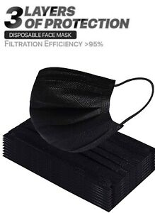 50/100 PCS  Face Mask Mouth & Nose Protector Respirator Black Masks US Seller