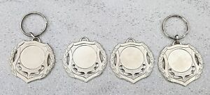 MEDALS 4 x Silver Laurel Leaf Trophy Medals 5 cm Across 2 x Key Ring