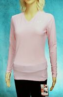 Womans Under Armour Extreme Heat Gear Compression V NCK Top Long Sleeve PINK NWT
