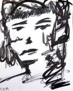 IMPRESSIONISM INK PORTRAIT WALL ART ORIGINAL DESIGN BLACK INK DECO CONTEMPORARY