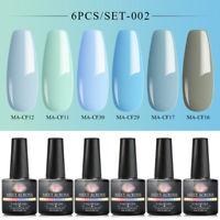 Meet Across 6Bottles Pure Color Gel Nail Polish Soak Off Varnish Manicure Tools