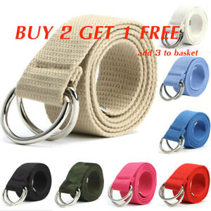 Men's Ladies Canvas Double D Ring Buckle Waist Belt Strap Pants Band Waistband