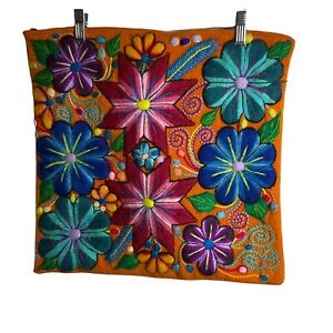 """Peruvian Throw pillow case 17x17"""" Embroidered Pillow Cover Orange Floral wool"""
