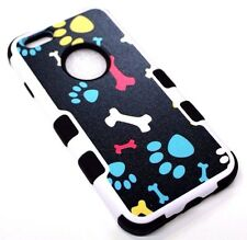 "for iPhone 6/6S (4.7"") Dog Paw Prints Bones Black Hybrid Rubber Protective Case"