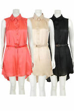 Unbranded Collar Patternless Sleeveless Dresses for Women