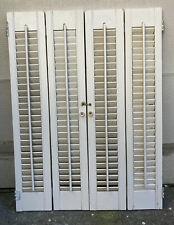 """32"""" Tall x 24"""" Wide Vtg Colonial Wood Interior Louver Plantation Window Shutters"""