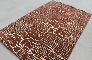 R617 Exclusive Brown & Cream Woolen Handmade Tibetan Rug 5' x 8' Made In Nepal