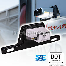 OLS LED License Plate Lights w/Bracket Trailer RV Truck Boat - Chrome Housing
