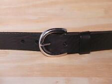 Silver Half Oval 1 Inch Leather Belt Waist Size Mens Ladies Black Brown Trousers