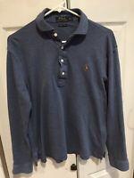 Men's Polo Ralph Lauren Long Sleeve Shirt Pima Soft Touch Blue Size Medium