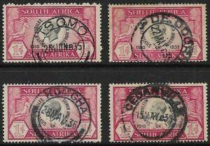 South Africa 1935 KGV 1d Silver Jubilee SG 65 Circular Date Postmarks x 4 FU