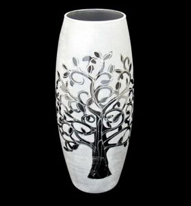 Beautiful Unusual Art Glass Tree Of Life Textured Studio Vase 26cm