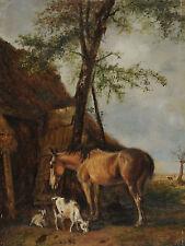 Belgisch signiert Thys - Pferd und Ziegen vor einem Stall
