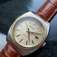 BULOVA Men's 18K Gold-Plated & SS Jumbo Day Date Automatic c.1970s Swiss R1107