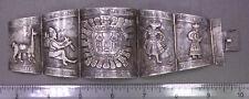 Vintage LARGE & HEAVY ~ Peru Plata/Signed CM ~ Sterling Silver Figural Bracelet