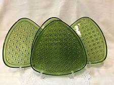 4 Triangular Green Depression Glass Luncheon Plates-Mid Century 1960's
