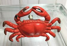 Nautical RED CRAB CAST IRON DRAWER PULL CABINET KNOB BEACH HOUSE DRESSER