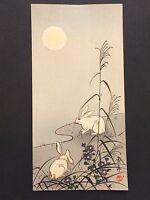 "Keinen Imao ""Rabbits in the Moonlight"" Japanese woodblock print c.1930s"