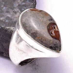 Coffee Bean Jasper Ethnic Handmade Man's Ring Jewelry US Size-8 AR 26497