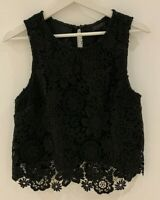 BLACK FLORAL LACE TOP 12 TOPSHOP HOLIDAY TOWIE PRETTY SMART CHIC GLAM BOHO FIT
