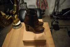 Ankle Boots Chelsea Platform Tortoise Shell Effect Chocolate Faux Leather SZ 6