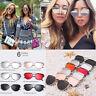 Damen Brille Katzenaugen Sonnenbrille Twin-Träger Überzug Spiegel Flat-Panel