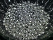 Wholesale 6MM Platinum Stardust Beads Round Spacer Loose Beads 50pc. New 6MM