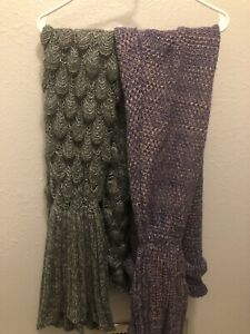 Mermaid Tail Knit Blankets 2 Pieces