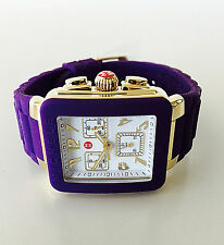 NWT MICHELE Women's watch Jelly Bean Purple Silicone Gold PARK MWW06L000020 $395