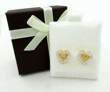 GENUINE YELLOW TOPAZ & DIAMOND STUD EARRINGS .925 Silver * NEW WITH TAG *