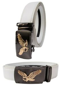 Men Gold Eagle Buckle White Genuine Leather Belt Automatic Ratchet Click Lock