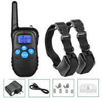 Dog Pet Electric Shock Training 2 Collar Rechargeable Waterproof 330Yard Remote
