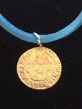 "Elizabeth I Quarter Angel Coin WC51 Gold Pewter On a 18"" Blue Cord Necklace"