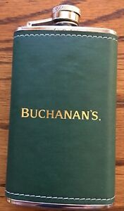Buchanans Pocket Container Stainless Steel Hip Flask Green Leather Wrapped 6oz
