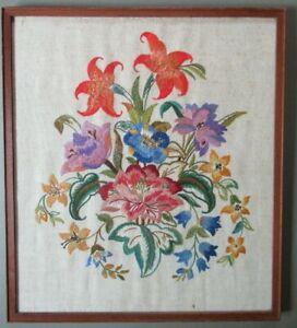 Antique Handmade Silk Crewel Embroidery Needlework Framed