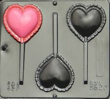 FREE SHIP NEW PUFFED HEART Chocolate Candy Fondant Plaster Clay Lollypop Mold