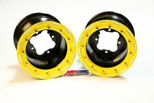 "DWT G2 ATV Yellow Rear Beadlock Rims 9"" 9x8 3+5 4/115 YFZ450 YFZ450R Raptor 700"