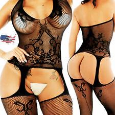 Sexy-Lingerie-Bodystockings-Women-Sleepwear-Babydoll-Lace-Nightwear-Stockings-US