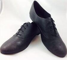 Plus Size Ladies Black Oxford Brogue Flat Lace Up shoes size UK 10 PLUS SIZE