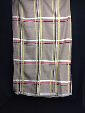 """Vintage Plaid Twin Full Double Blanket Bed Spread 100""""x 67"""" Tan Black Red Yellow"""
