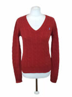 Ralph Lauren Sport Sweater Red V Neck Chunky Cable Knit Large Womens